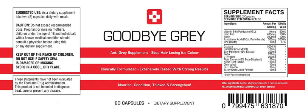 Goodbye Grey Ingredients